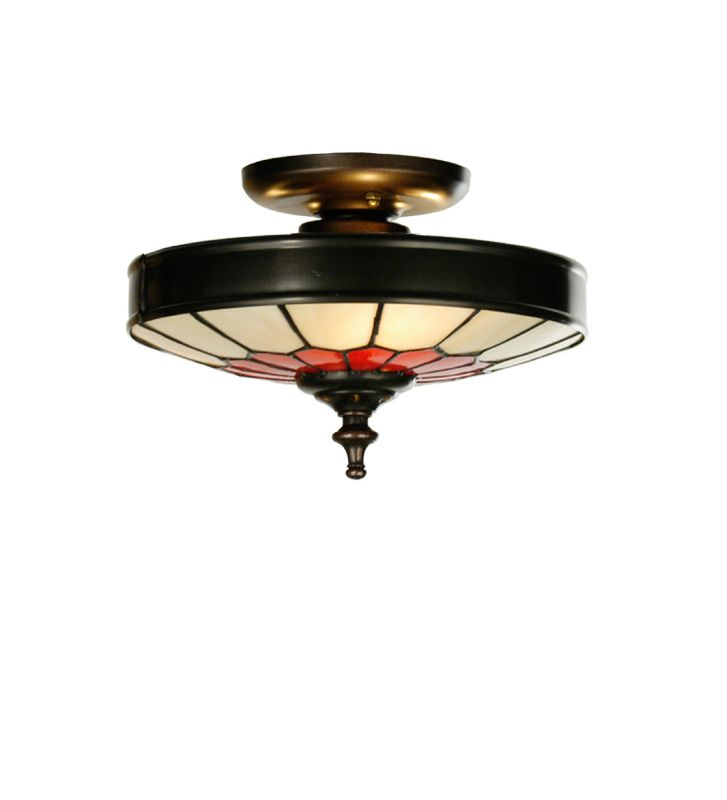Meyda Tiffany 27056 Tiffany Three Light Flush mount Ceiling Fixture