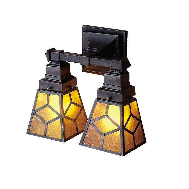 """Meyda Tiffany 27882 Craftsman / Mission 2 Light 12"""" Wide Bathroom"""