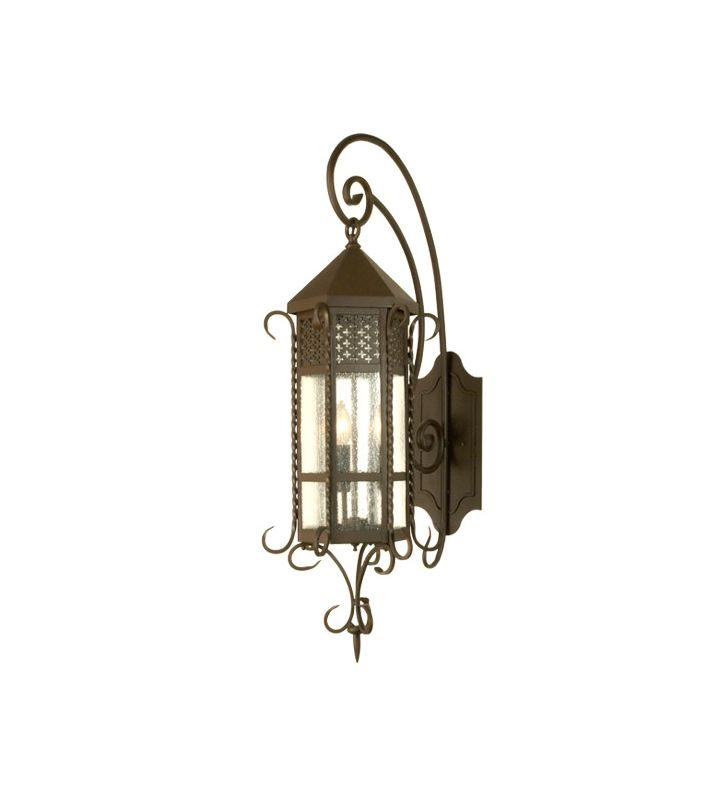 "Meyda Tiffany 28665 12"" Wide 3 Light Lantern Wall Sconce with Seedy"