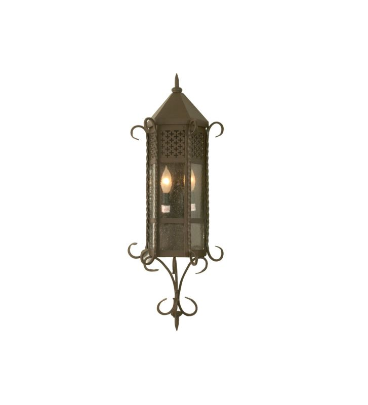 "Meyda Tiffany 28666 11"" Wide 2 Light Lantern Wall Sconce with Seedy"