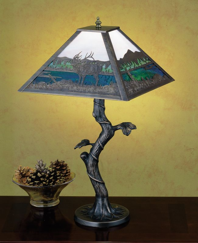 Meyda Tiffany 29537 Table Lamp from the Elks Club Collection Mahogany