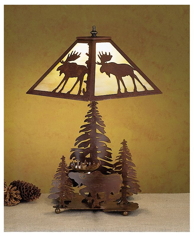 Meyda Tiffany 29575 Table Lamp from the Moose Collection Rust / Beige