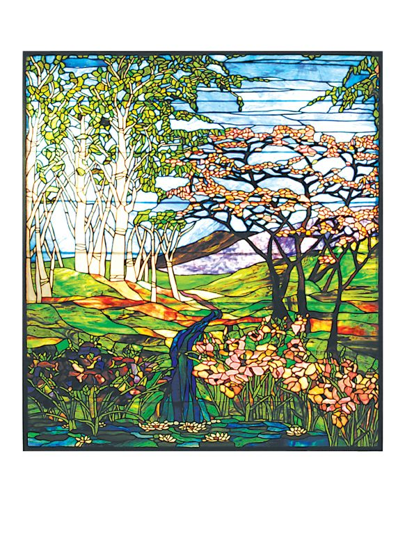 Meyda Tiffany 29653 Tiffany Landscape Stained Glass Window Pane from