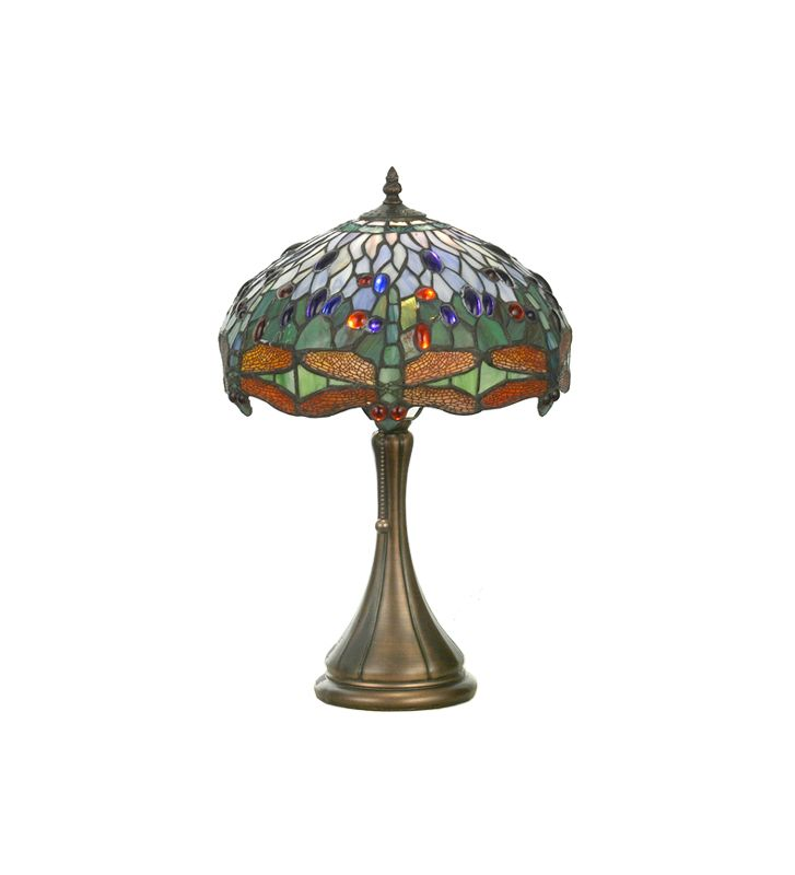Meyda Tiffany 30364 Tiffany Single Light Dragonfly Table Lamp Mahogany