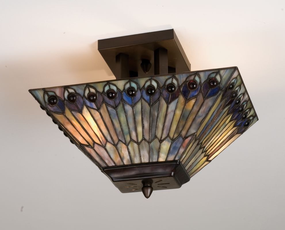 Meyda Tiffany 31191 Stained Glass / Tiffany Semi-Flush Ceiling Fixture