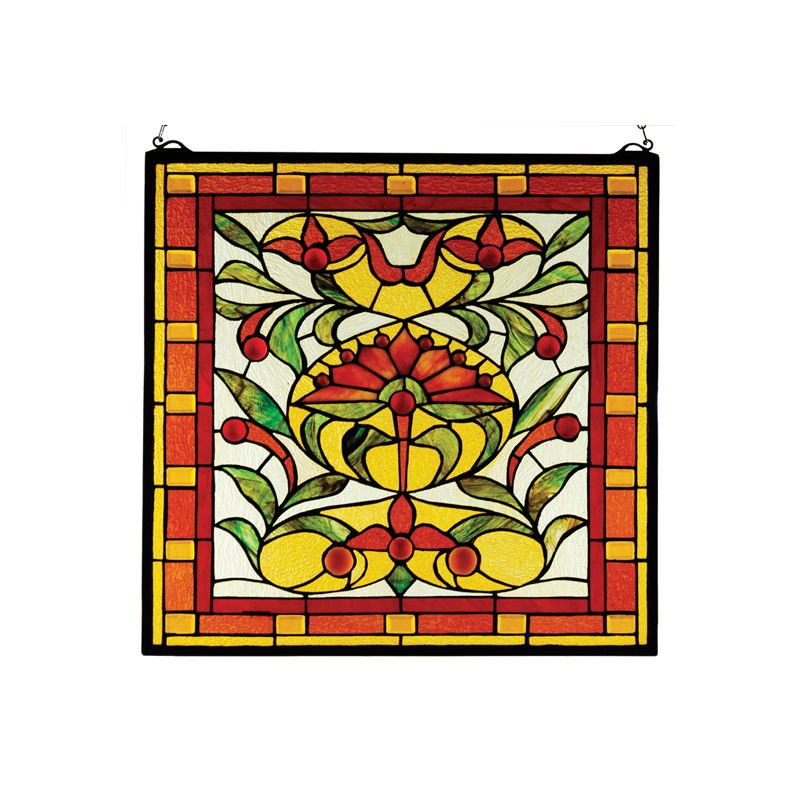 Meyda Tiffany 31371 Tiffany Square Flower Glass Window Pane from the