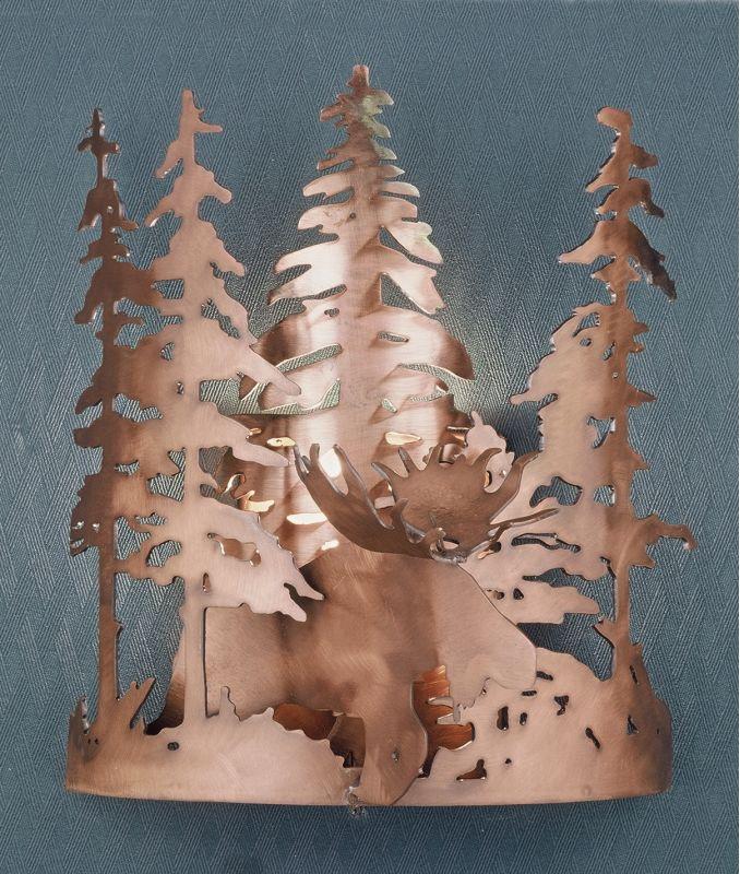 "Meyda Tiffany 31655 Moose 11"" Wide Single Light Wall Washer Antique"