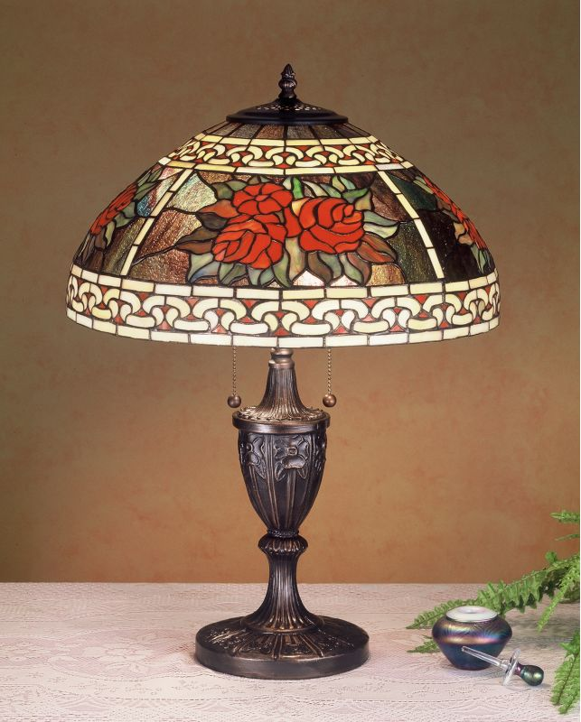 Meyda Tiffany 37788 Stained Glass / Tiffany Table Lamp from the Roses