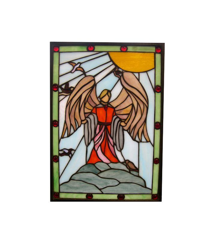 Meyda Tiffany 38116 Tiffany Rectangular Stained Glass Window Pane from