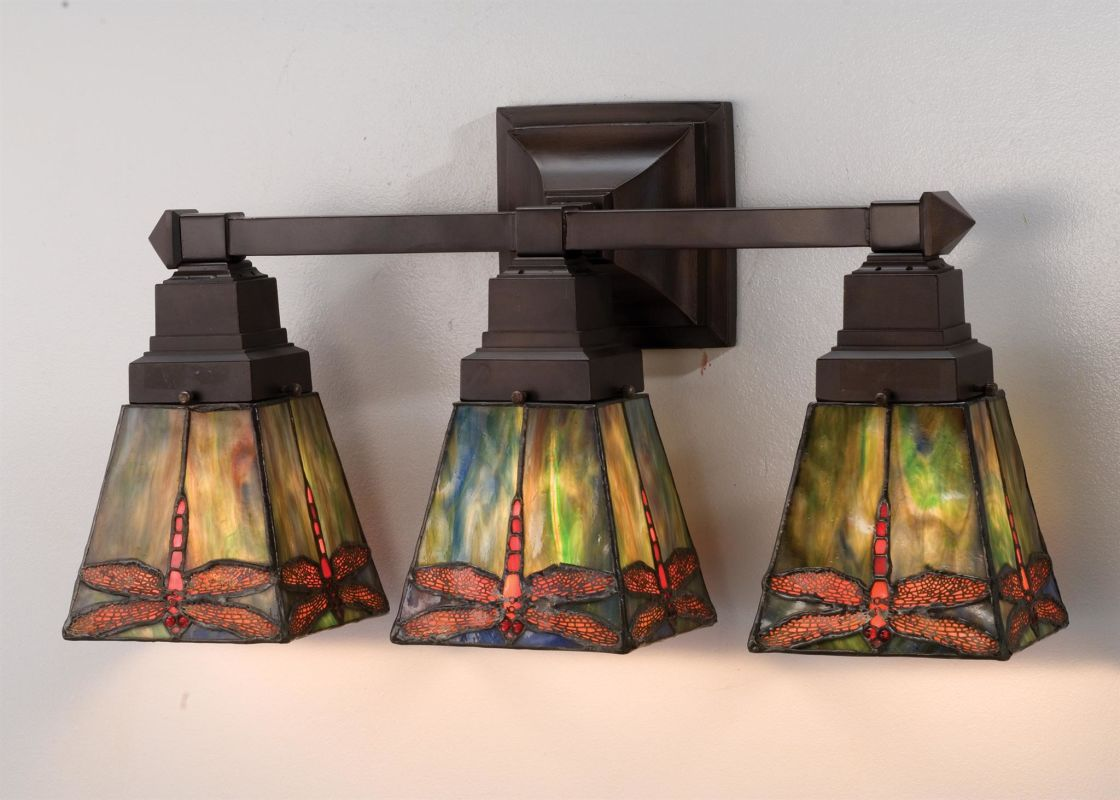 Stained Glass Vanity Light Fixtures : Meyda Tiffany 48036 Tiffany Glass Stained Glass / Tiffany 3 Light 20
