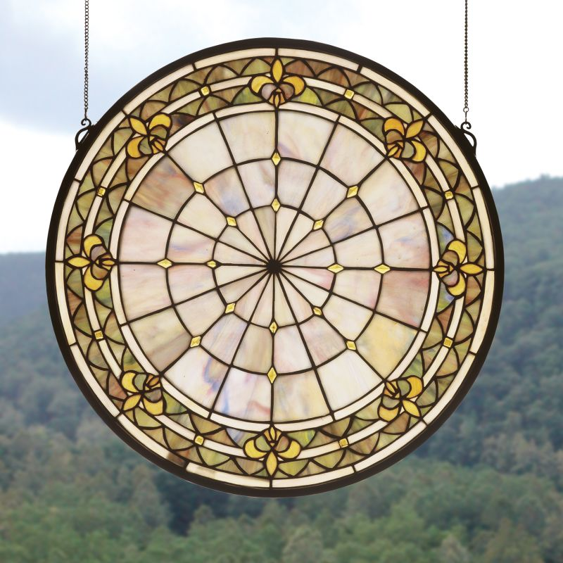 Meyda Tiffany 49840 Stained Glass Tiffany Window from the Fleur-de-lis