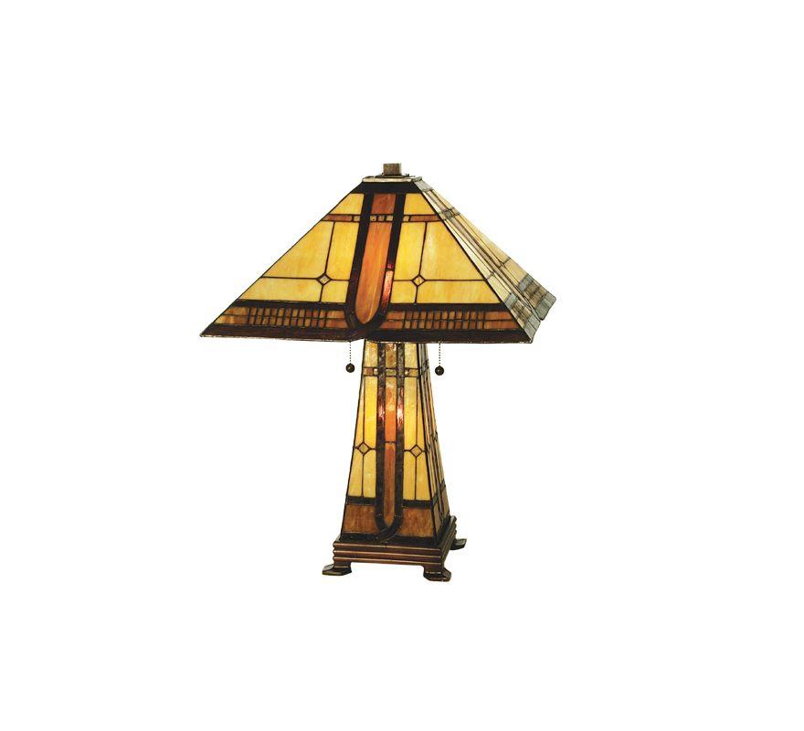 Meyda Tiffany 50805 Tiffany Three Light Table Lamp Beige / Honey Lamps