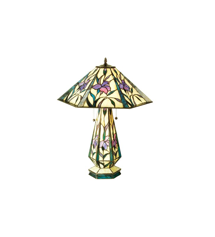 Meyda Tiffany 50808 Tiffany Three Light Table Lamp Purple / Blue /