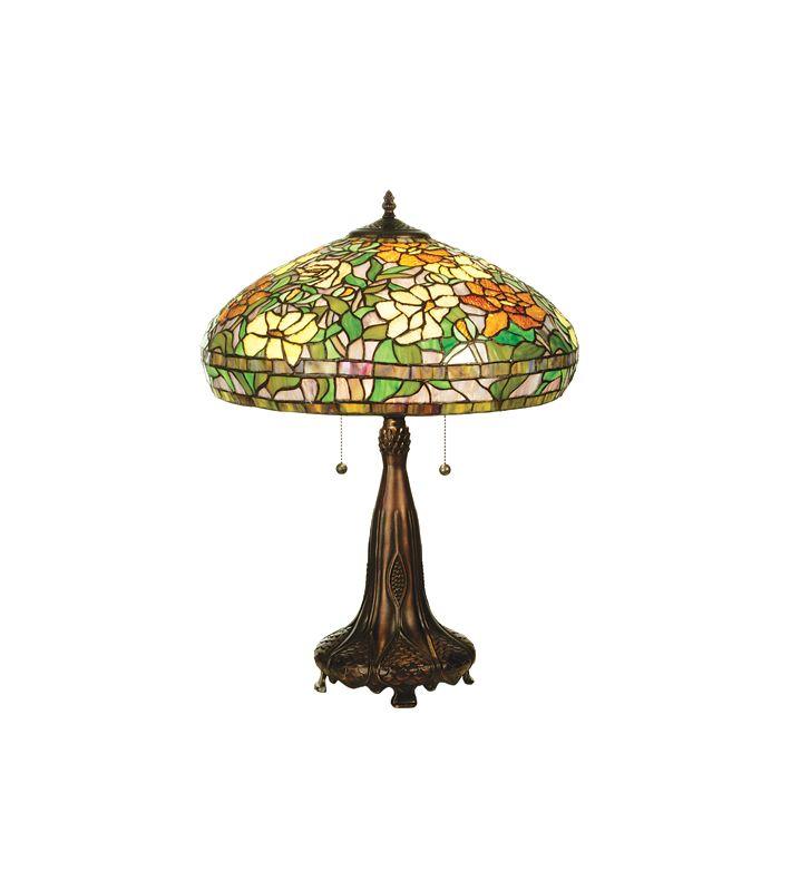 Meyda Tiffany 50814 Tiffany Two Light Table Lamp Green / Earth Tones /
