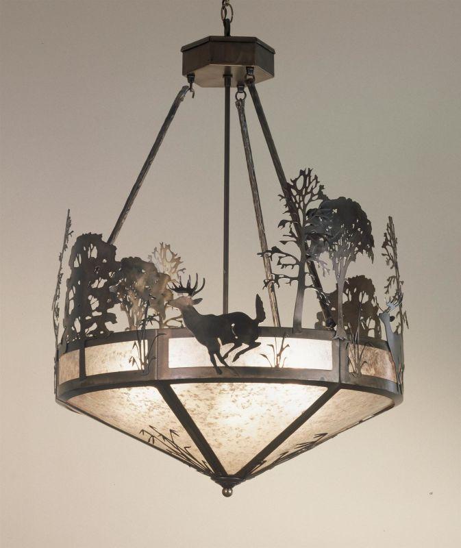"Meyda Tiffany 51853 Three Light ""Deer"" Bowl Pendant Antique Copper"