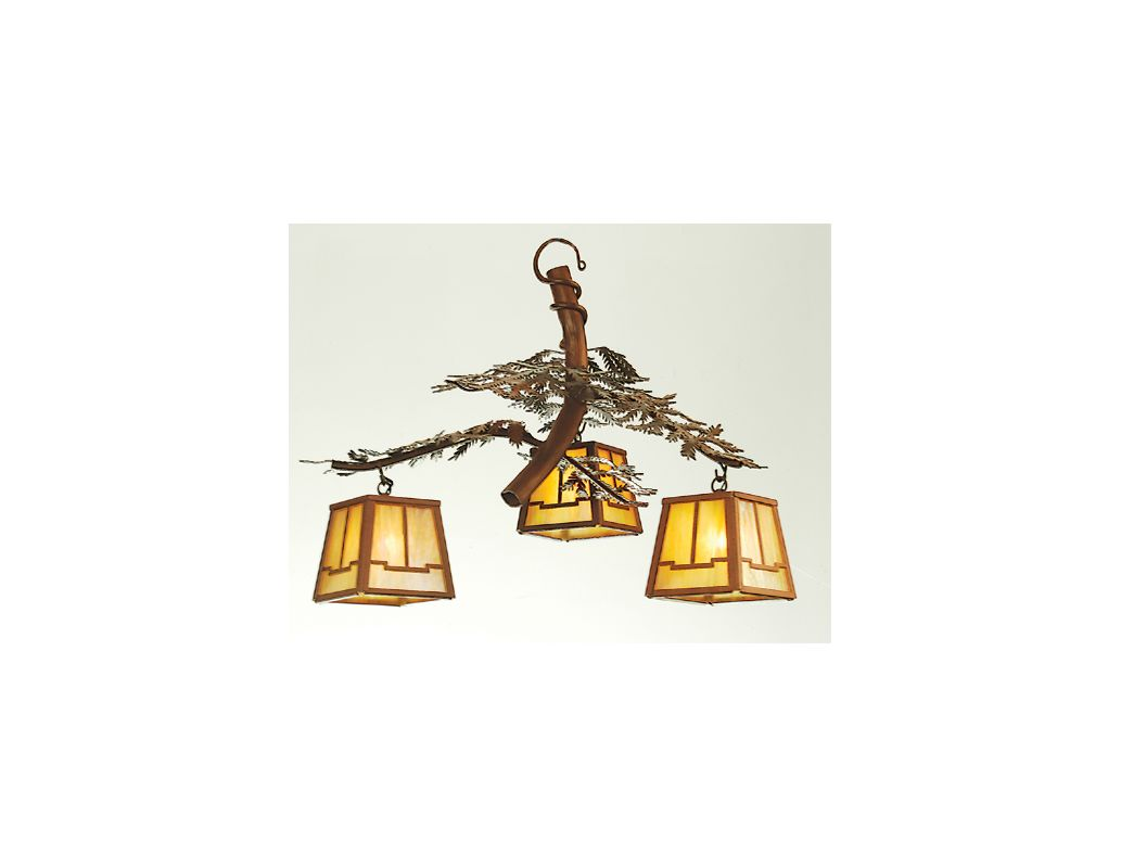 "Meyda Tiffany 52350 Three Light ""Pine Branch"" Chandelier Indoor"