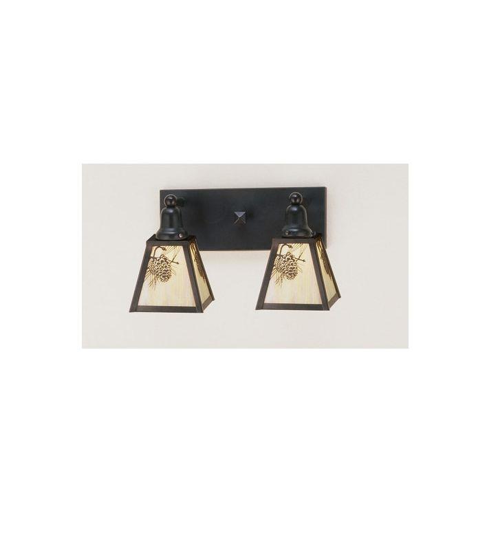 """Meyda Tiffany 52460 Craftsman / Mission 2 Light 17"""" Wide Bathroom"""