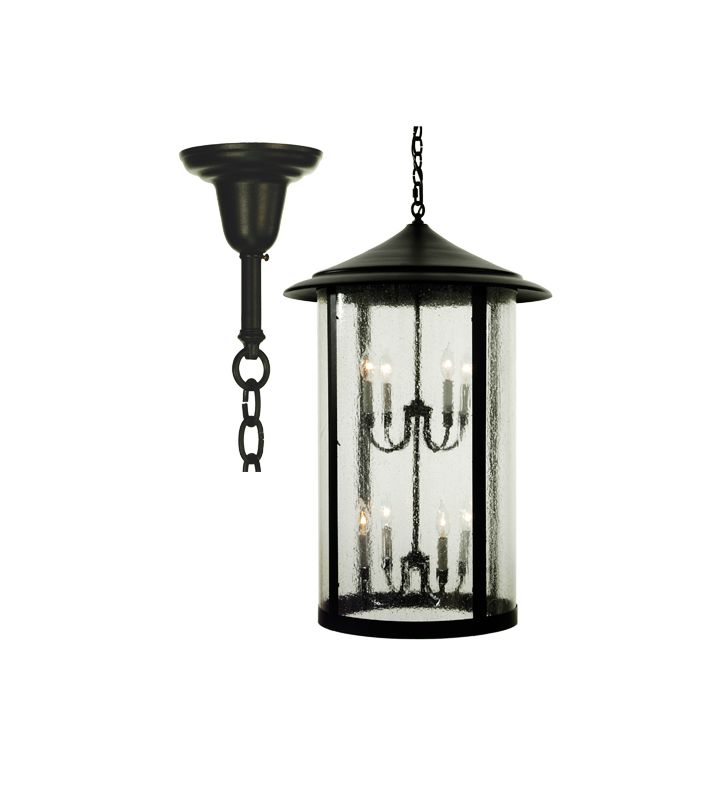 "Meyda Tiffany 66100 Eight Light ""Fulton"" Pendant Black Indoor Lighting"