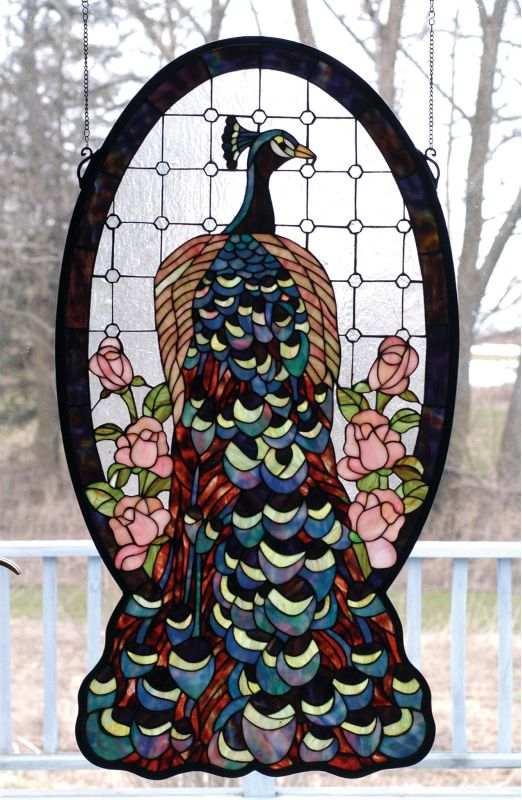 Meyda Tiffany 67135 Stained Glass Tiffany Window from the Peacocks