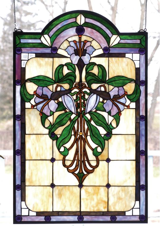 Meyda Tiffany 67136 Stained Glass Tiffany Window from the Nouveau Lily