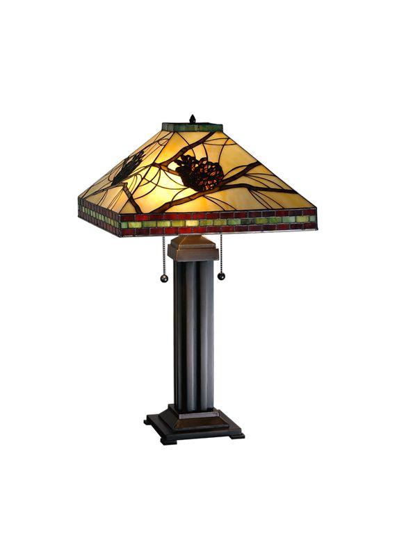 Meyda Tiffany 67852 Two Light Table Lamp Beige / Burgundy / Bronze