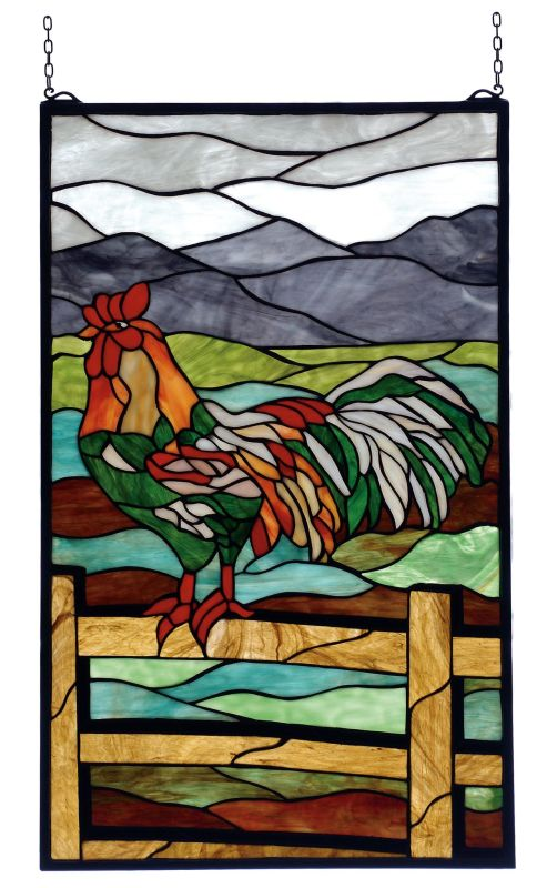 Meyda Tiffany 69398 Stained Glass Tiffany Window from the Rooster