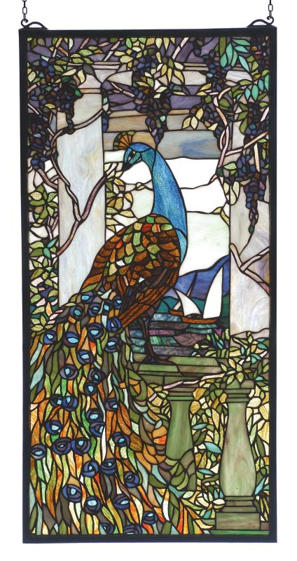 Meyda Tiffany 70519 Stained Glass Tiffany Window from the Peacocks