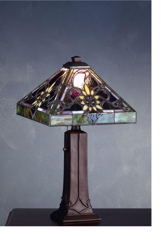 Meyda Tiffany 71004 Tiffany Single Light Accent Table Lamp Mahogany
