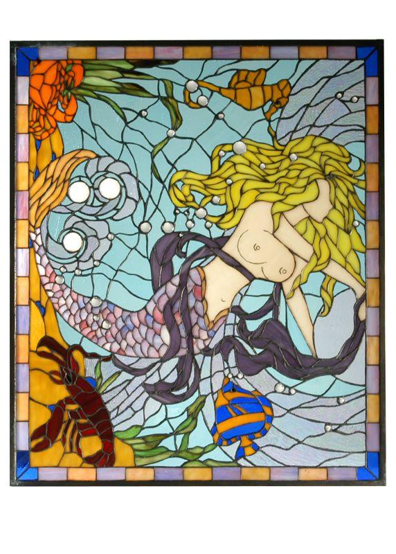 Meyda Tiffany 71856 Tiffany Rectangular Stained Glass Window Pane from