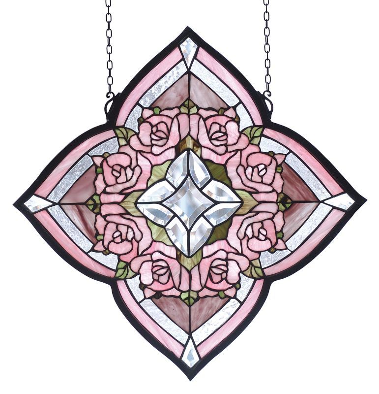 Meyda Tiffany 72642 Stained Glass Tiffany Window from the Jeweled Rose