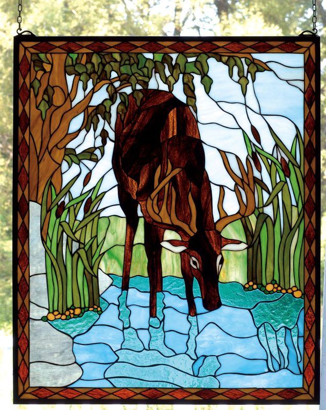 Meyda Tiffany 72936 Tiffany Window from the Deer & Bear Collection