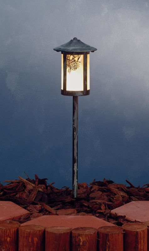Meyda Tiffany 73544 Single Light Post Light Verdigris Outdoor Lighting