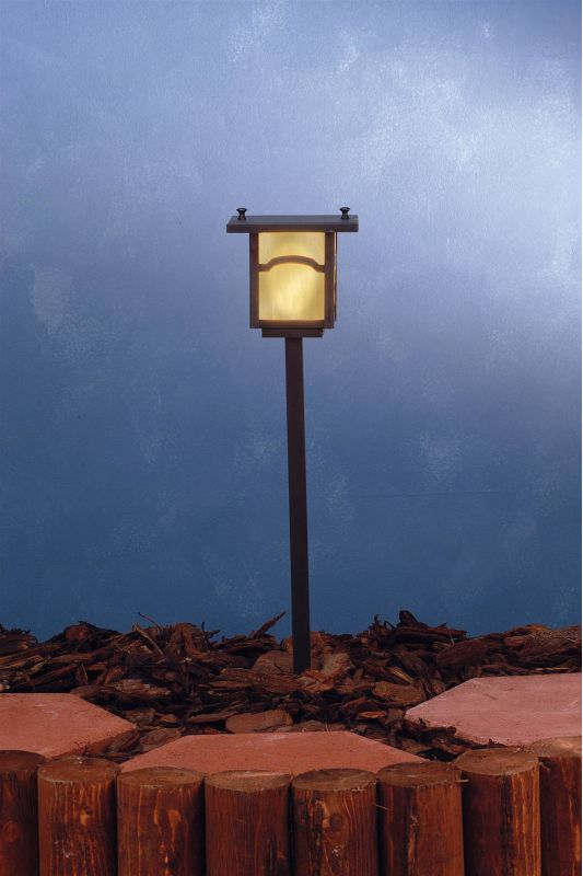 Meyda Tiffany 73545 Single Light Post Light Craftsman Brown Outdoor
