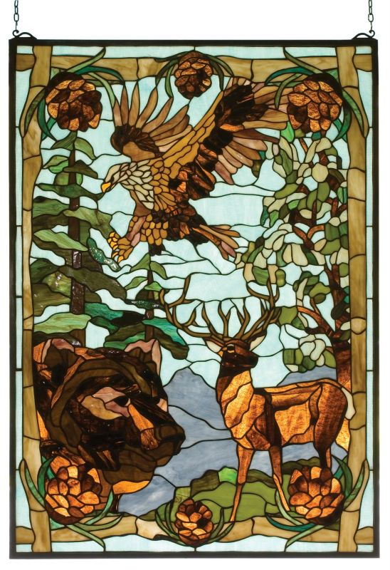 Meyda Tiffany 77732 Stained Glass Tiffany Window from the Northwoods