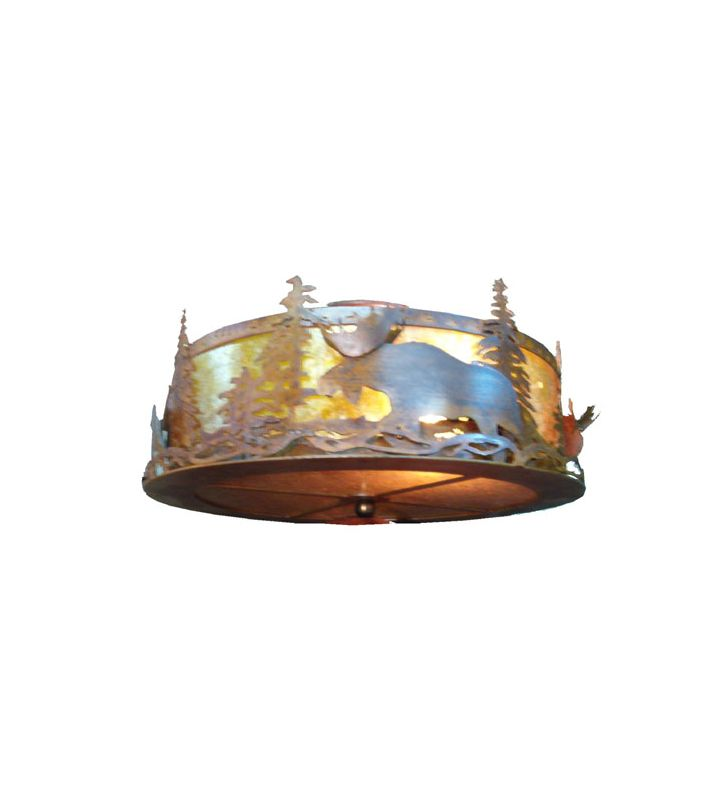 Meyda Tiffany 77902 Two Light Semi-Flush Mount Ceiling Fixture Rust