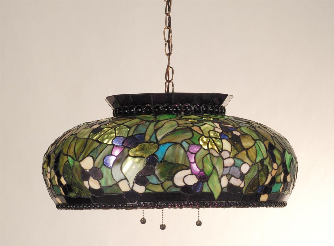 """Meyda Tiffany 81775 Tiffany Three Light """"Grape"""" Bowl Pendant Mahogany"""