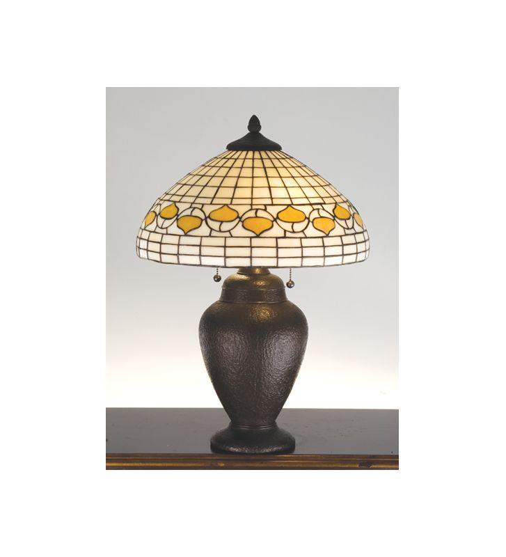 Meyda Tiffany 82152 Table Lamp from the Acorns Collection Mahogany