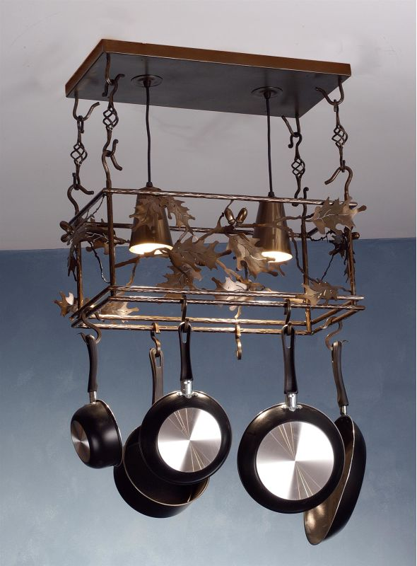 Meyda Tiffany 82160 Oak Leaves Pot Rack Antique Copper Home Decor Pot