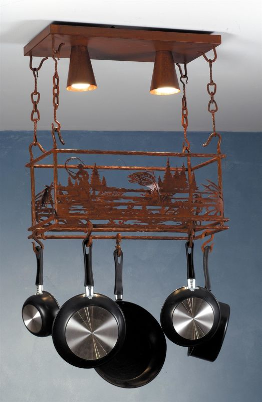 Meyda Tiffany 82884 Two Light Down Lighting Pot Rack from the Fly