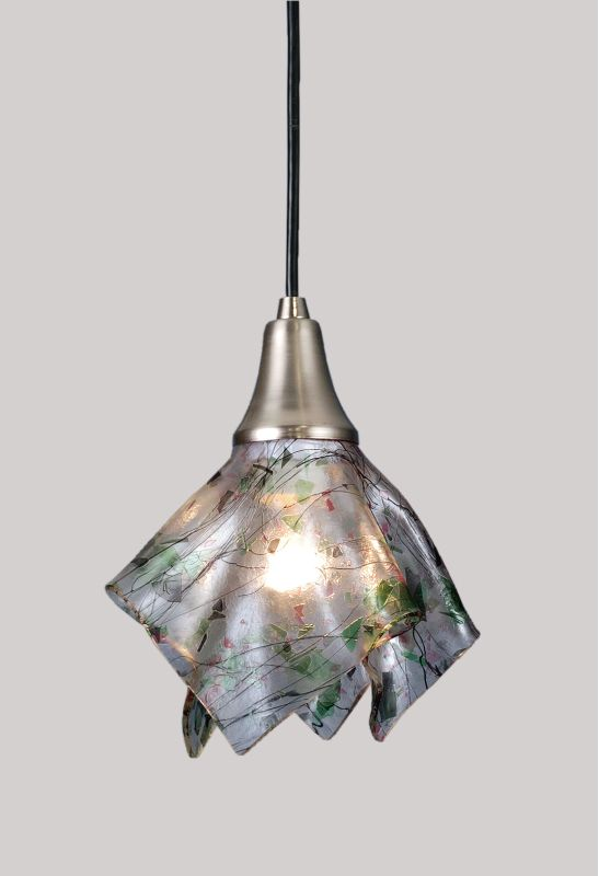 Meyda Tiffany 83010 Tiffany Single Light Mini Pendant Brushed Nickel