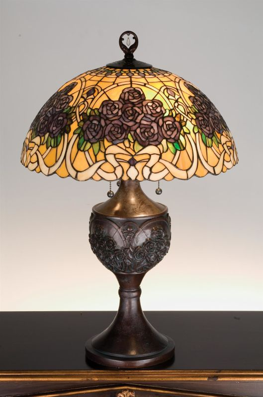 Meyda Tiffany 98079 Stained Glass / Tiffany Table Lamp from the Rose