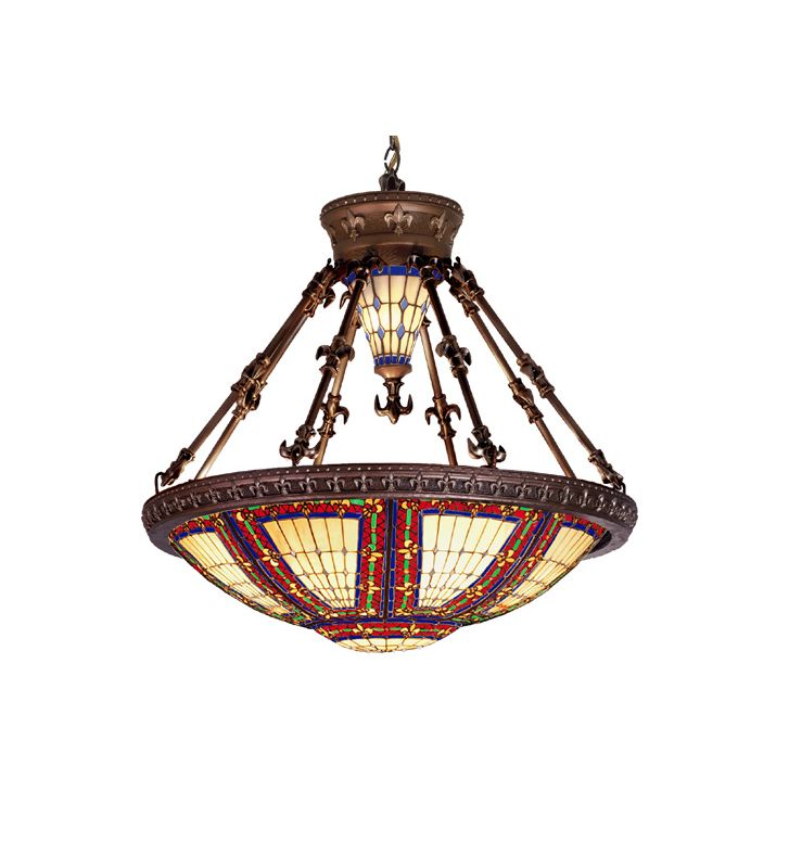 Meyda Tiffany 98983 Tiffany Eight Light Down Lighting Pendant Mahogany