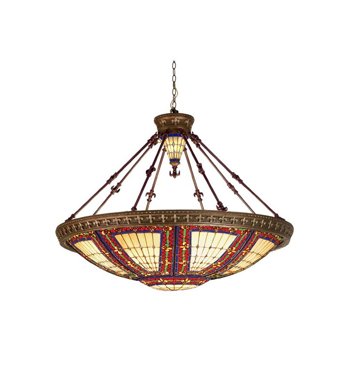Meyda Tiffany 98985 Tiffany Ten Light Down Lighting Pendant Mahogany