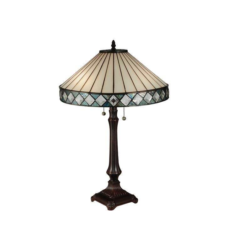 Meyda Tiffany 134537 Diamondring 2 Light Desk Lamp Mahogany Bronze