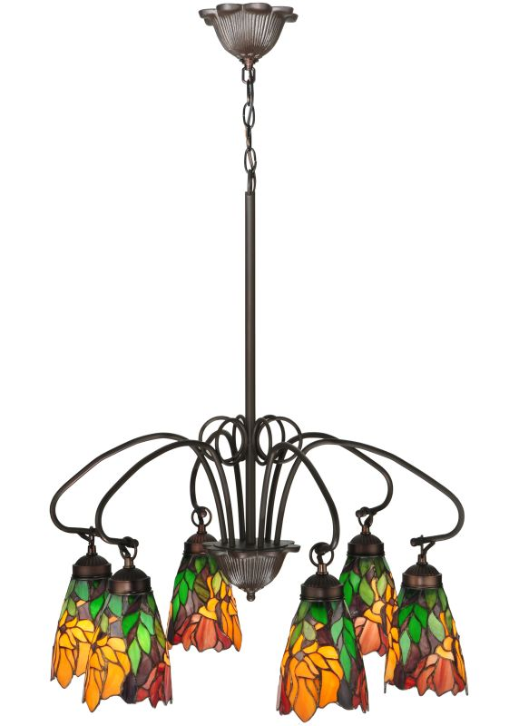 "Meyda Tiffany 104887 26"" W Iris 6 Light Chandelier Orange Burgundy"