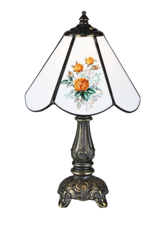 "Meyda Tiffany 107812 11.5"" H Rose Bouquet Mini Lamp Raindrop Lamps"