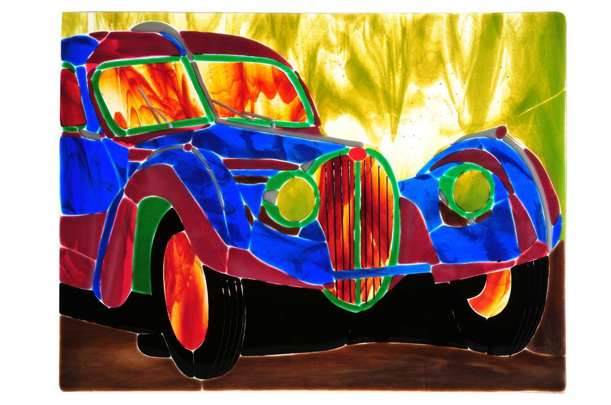 """Meyda Tiffany 107844 18"""" W X 13.75"""" H Bugatti Atlantic Fused Glass"""