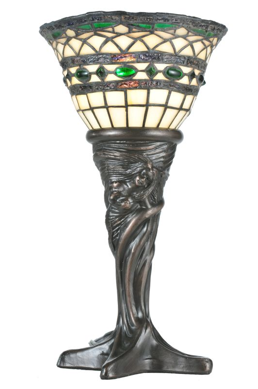 "Meyda Tiffany 108936 14"" H Tiffany Roman Mini Lamp Beige Green Lamps"