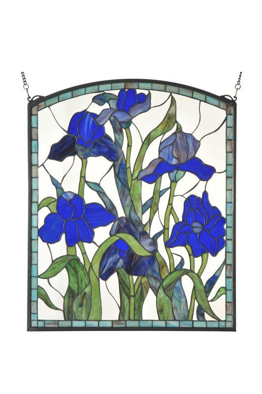 """Meyda Tiffany 109050 24"""" W X 28.75"""" H Iris Arched Stained Glass Window"""