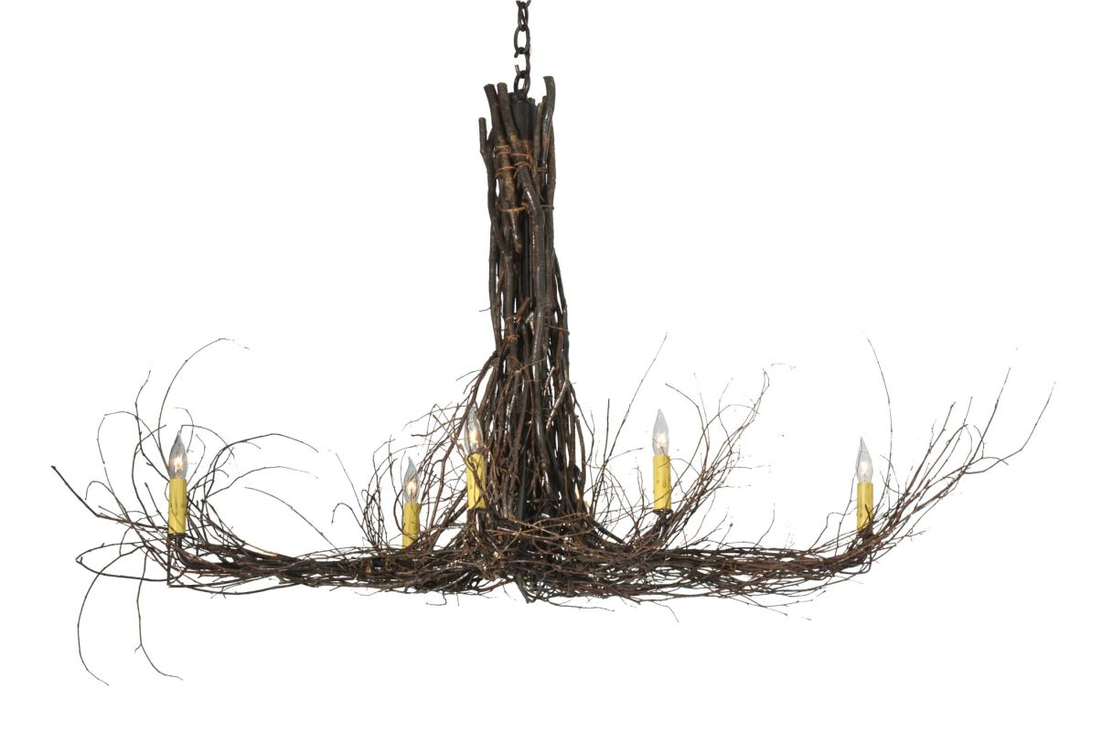 "Meyda Tiffany 110175 48"" L Twigs 6 Light Chandelier Mahogany Bronze"